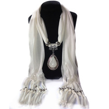 Woman's Long Resin Little Rhinestone Pendant Shawl Scarf Necklace Scarf with Pendant