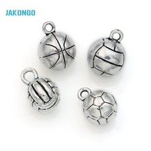 10pcs Tibetan Silver Plated 3D Football Basketball Volleyball Charms Pendants for Jewelry Making DIY Handmade Craft 13x10mm A123(China)