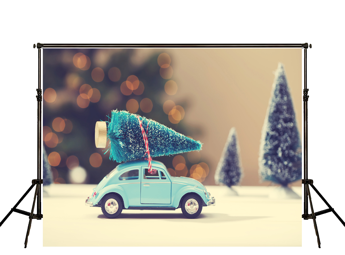 New Design  Backdrop Cars&amp;Christmas trees Children Merry Christmas Photocall Photography Photo Background Photo<br><br>Aliexpress