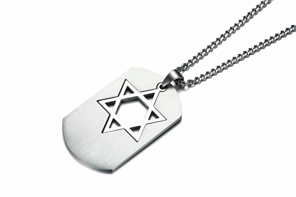 Israel Symbol Star of David Dog Tag Pendant Necklace for Men Jewelry silver 15