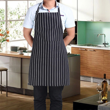 Stripe Bib Apron with 2 Pockets Chef Waiter Kitchen Cook New Tool SF205