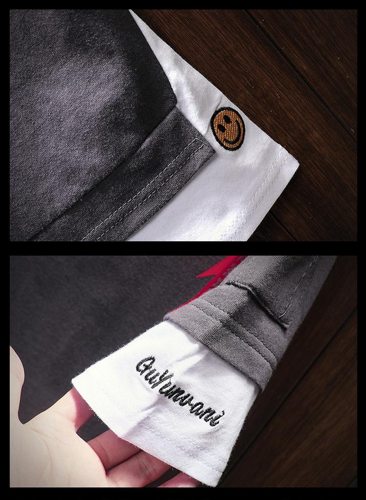 Men's Short Sleeve T-shirt 5-5 Sleeve Summer Korean Fashion Hip-hop Fake Two Loose Chao Brand 7-Sleeve Half Sleeve male MP191 20
