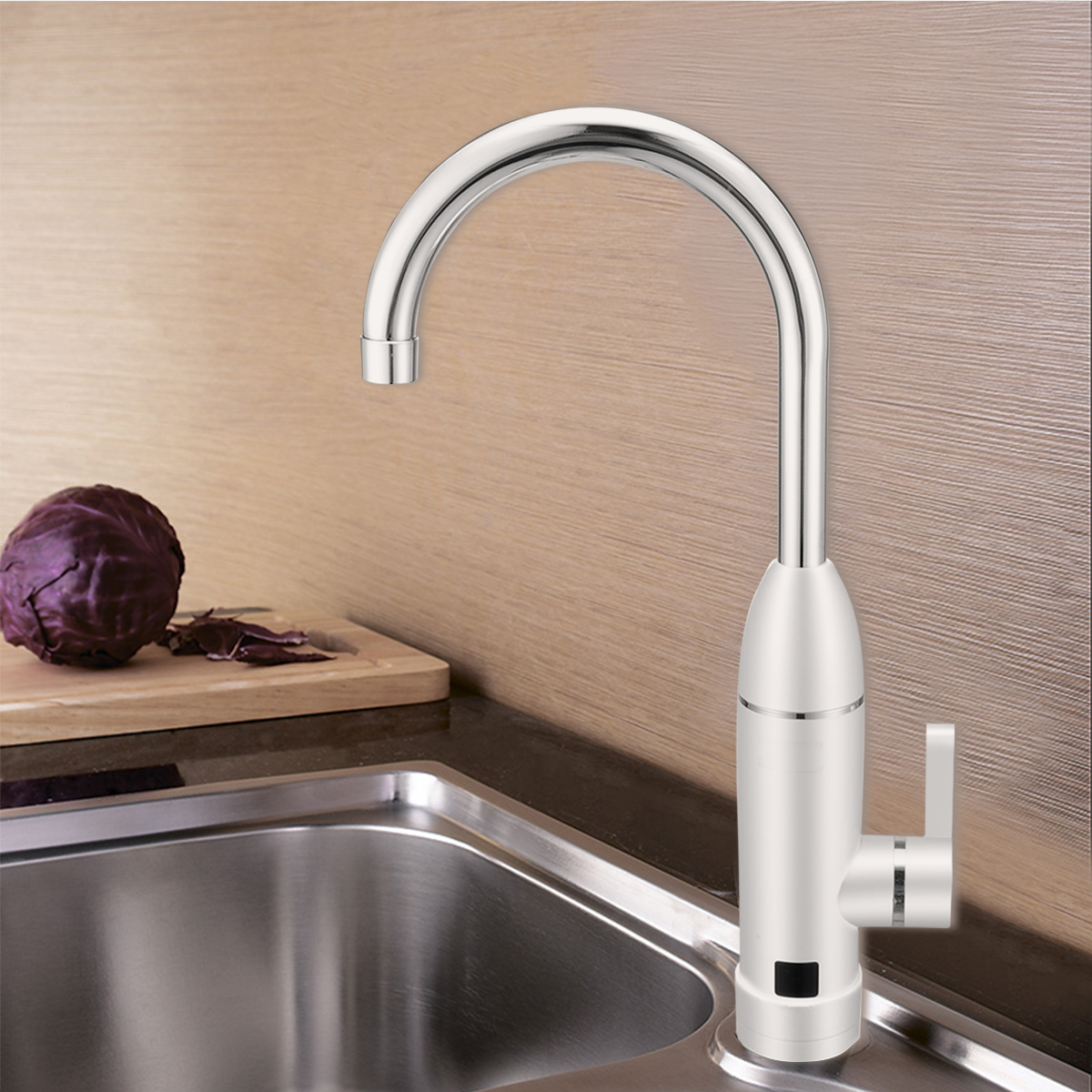 Mayitr Instant Electric Water Faucet Kitchen LED Display Electric Hot Cold Water Tap Tankless Heating Mixer Basin Tap For Home