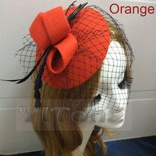 NEW Fashion Lady Girl Hair Clip Formal Dress Bowknot Veil Hat Fascinator Hair Clip Accessory Flower Cap High Quality