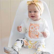 Retail 2017 New Autumn Newborn Baby Boy Clothes Cotton Owl White T-Shirts Pants Baby Girl Clothing Sets Infant 2 Pcs Suit(China)
