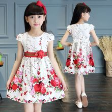 Baby Girls Dress Brand Summer Beach Style Floral Print Party Short Sleeve Dresses For Kids Vintage Toddler Children's Clothing(China)