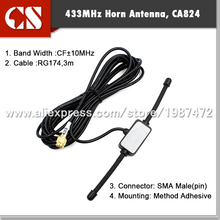 whole sale 433 MHz Long Range Antenna 433mhz patch antenna Ham Radio SMA Male 3m cable free shipping