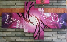 4009 free shipping handpainted wall art peacock home modern abstract decorative 4 piece oil painting on canvas for living room(China)