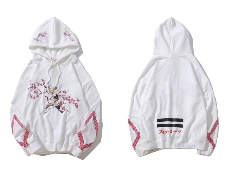 Embroidery Crane Flowers Hoodies 2
