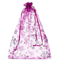 25PCs 18cmx25cm Fuchsia Flower Organza Gift Jewelry Bags Wedding/Christmas Favor (Over $110 Free Express)