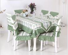 Pastoral plaid  tablecloth set suit 130*180cm table cloth matching chair cover  1 set price  free ship