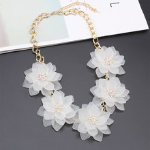 2017 Za Flower Statement Necklace Women Cheap Boho Maxi Pendant Necklace Choker Collar Jewelry Christmas Gift(China)