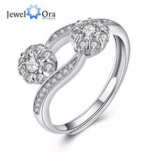 Party Accessorise Guarantee 925 Sterling Silver Ring Adjustable Cubic Zirconia Rings For Women (JewelOra RI102198)(China)