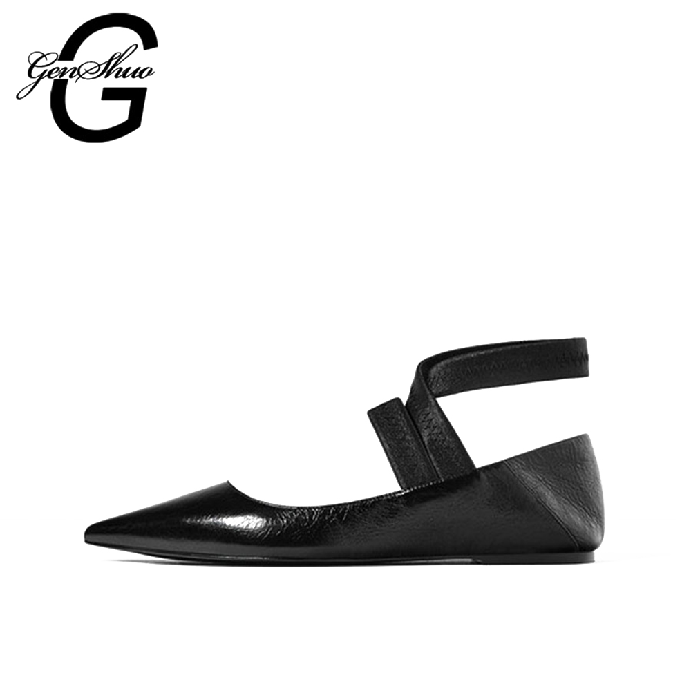 GENSHUO 2017 Ladies Fashion Cross Strap Shoes Women Shoes Woman Flats Casual Comfortable Elasticity semi-trailing leather female<br>
