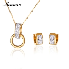 Minmin 316L Stainless Steel Jewelry Sets for Women Gold-color Crystal Pendant Necklace Earrings African Beads Jewelry Set TL326