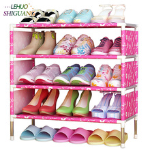 Shoes shelf Easy Assembled Non-woven 4 Tier Shoe Rack Shelf Storage Organizer Stand Holder Keep Room Neat Door Space Saving(China)