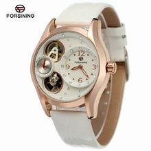 Forsining Women Dual Movement Mechanical Watch Leather Watchband Feminino Clock Montre Femme Luxury Ladies Skeleton Dress Watch