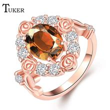 Fashion Multicolor Rings For Women Romantic pop roses Cubic Zirconia Rose Gold Color Wedding Finger Ring Fine Jewelry