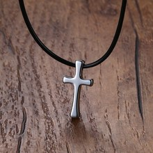 Fashion Men Choker Simple Tungsten Steel Budded Cross Pendant Necklace in Silver Tone With Black Leather Rope Chain Male Jewelry(China)