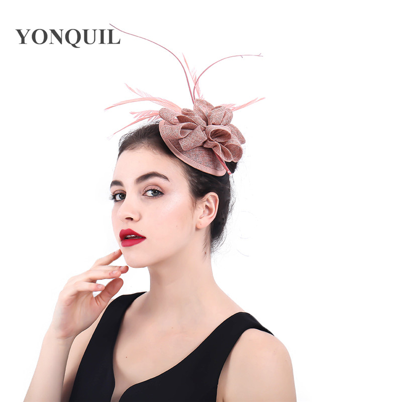 women fascinators kentucky derby hair accessories 2018 New elegant bridal cocktail headdress hats fancy feather fedora SYF390