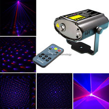 Mini Pattern Stars Fireworks Red DJ Blue laser Projector Remote Lighting Light Dance Disco Bar Party Xmas Effect Stage Lights(China)