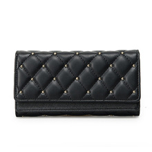 UNstyle New Women Leather Beads Wallet Fashion Retro Rivets Lingge Three Fold Wallet Cool Large Capacity Coin Purse QB009(China)