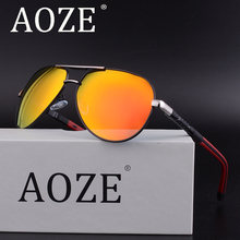 HOT AOZE Luxury brand design Classic polarized Aviator men's sunglasses driving Polaroid lens Spring Hinge Goggles Protection