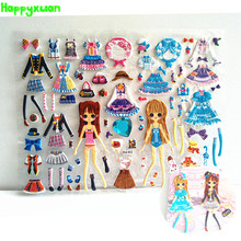 Happyxuan 6 Sheets Beautiful Cute Girls Dress Up Stickers Pvc Bubble Kids Early Learning Toys 2-6 Years YLE Series(China)