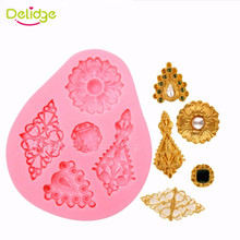 Delidge 1pc 5 Shape Diamonds Cake Mold Vintage Diamond Jewelry 3D Silicone Cake Mould For Cake Decorating Non-Stick Fondant Mold