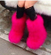 Winter Women genuine real hairy Ostrich Feather furry Fur flats snow boots plush fuzzy warm ski outdoor boots bootie flat shoes