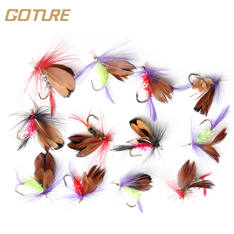Goture 12pcs/lot Hand Made Fly Fishing Flies 2cm Dry Fly Lures Mustard Fishing Hook Artificial Insect Bait For Carp Bass Salmon<br><br>Aliexpress