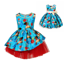 Summer Kids Moana Princess Dresses Flower Girl Party and Wedding Dress Baby Girls Festival Clothes Blue Costmes with Bow-knot