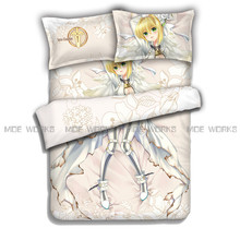 Saber Bed Duvet Cover Fate/EXTRA CCC Quilt Cover Single Bed Saber Coverlet Cover 4pcs Bedding Sheet(China)