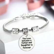 Buy Bespmosp Father's Day Love Father Daughter Vintage Bangle Bracelet Hand Stamped Bohemian Family Statement Jewelry for $1.08 in AliExpress store