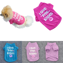 Sale 1Pc Puppy Supplies Letter Heart Print I Give Free Kisses Short Sleeves Dog Coats Pet Tops T-shirt 4 Size