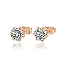 Hot Sale Rose Gold Color Simulated Diamonds Earring Studs Ladies Ear Rings For Women Channel Pairs Gold Small Earrings Jewelry