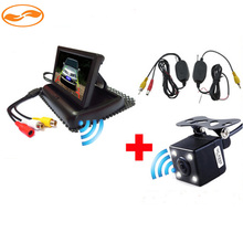 Car Wireless Parking Camera Monitor Video System DC 12V Car Foldable Monitor With Rear View Camera + Wireless Video Kit