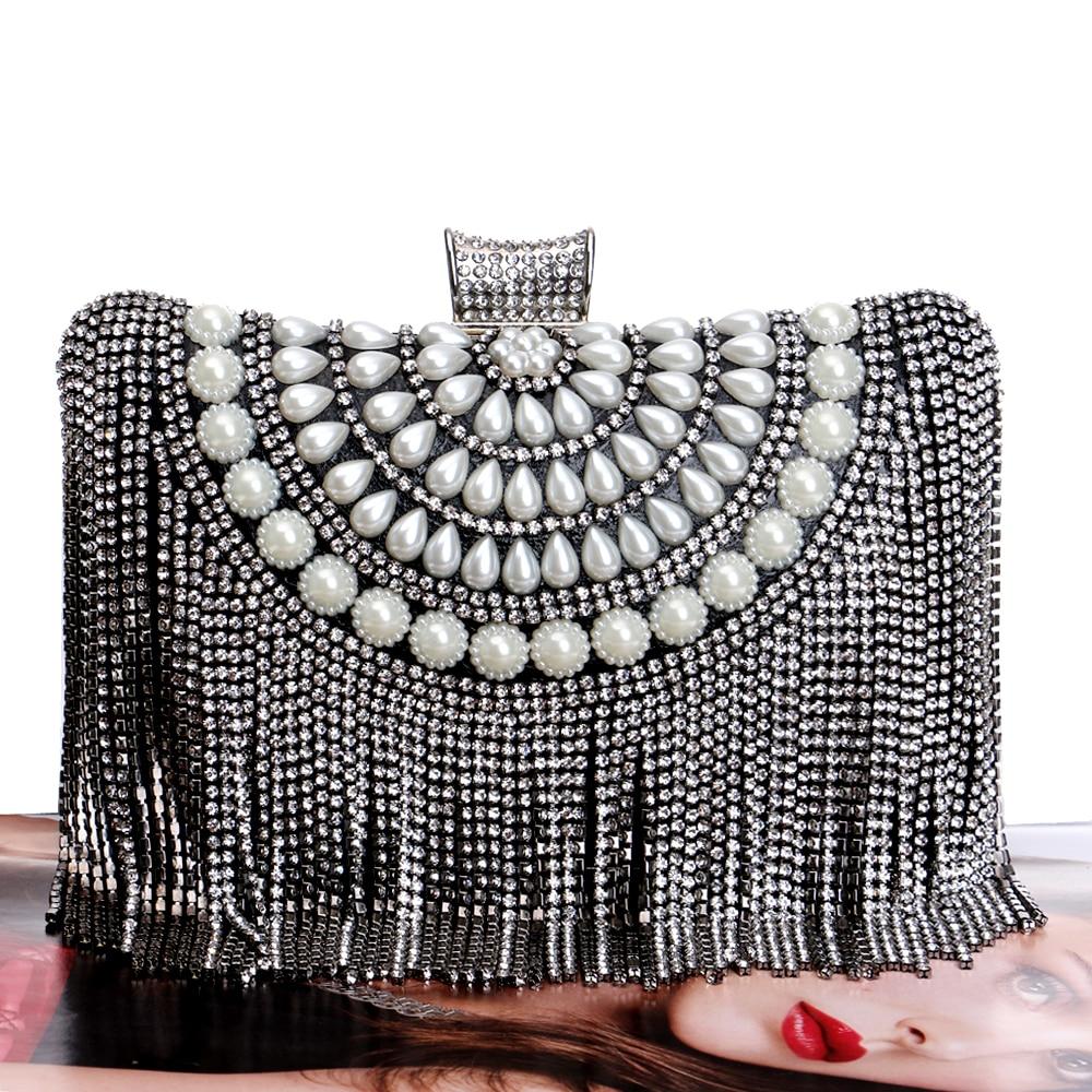 Tassel Rhinestones New Women Evening Bags Diamonds Beaded Wedding Lady Handbags Metal Small Purse Messenger Evening Bag<br><br>Aliexpress