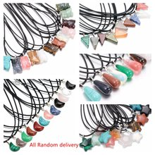 0499-0503 Wholesale Natural Crystal Agate Stone Various shape Necklace Pendant  For women Leather necklace