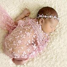 Newborn Baby Maternity Props Baby Photo Props Photography Quilt With Headband Sets 8 colors Embroidered tulle Krystal