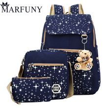Fashion Composite Bag Preppy Style Backpacks For Teenage Girls High Quality Canvas School Bags Cute Bear 3 Set Backpack Female(China)