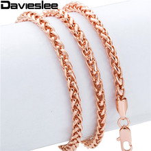 Wheat Spiga Chain 4MM Mens Womens Rose Gold Filled Necklace GF Chain Wholesale Necklace  Personalized Jewelry LGN255