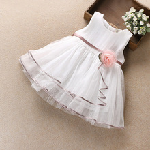 Flower Girls Dress Summer 2017 Baby Party Ball Gown Lace Mesh Solid White Pink Princess Toddler Prom Costume for Kids Clothes