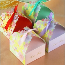 100pcs Handmade Artificial Flower Celebration Paper Candy Gift Box Wedding Party Home Decor  4 Color Purple Blue VD010