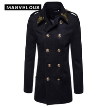 Manvelous Mens Overcoat Long Fashion Casual Slim Solid Lapel Mid-Length Embroidery Epaulet Polyester Designer Mens Coats Jackets(China)