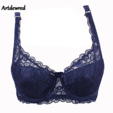 2016 Free Shipping Fashion New Sexy Ladies Sexy Underwear Full Coverage Minimizer Non Padded Lace Sheer Bra 9 Color 34-40 AB Cup