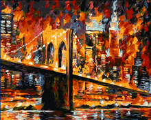 By Numbers Home Figure Pictures  Modern Decoration Picture  Night view of the bridge Home decoration DIY oil Painting Frameless