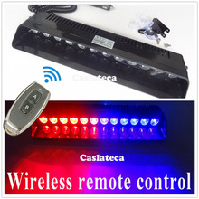 castaleca Wireless control 12 LED Windshield Warning Light Car Flashing Strobe Lightbar Police Lights Truck Beacons Signal lamp