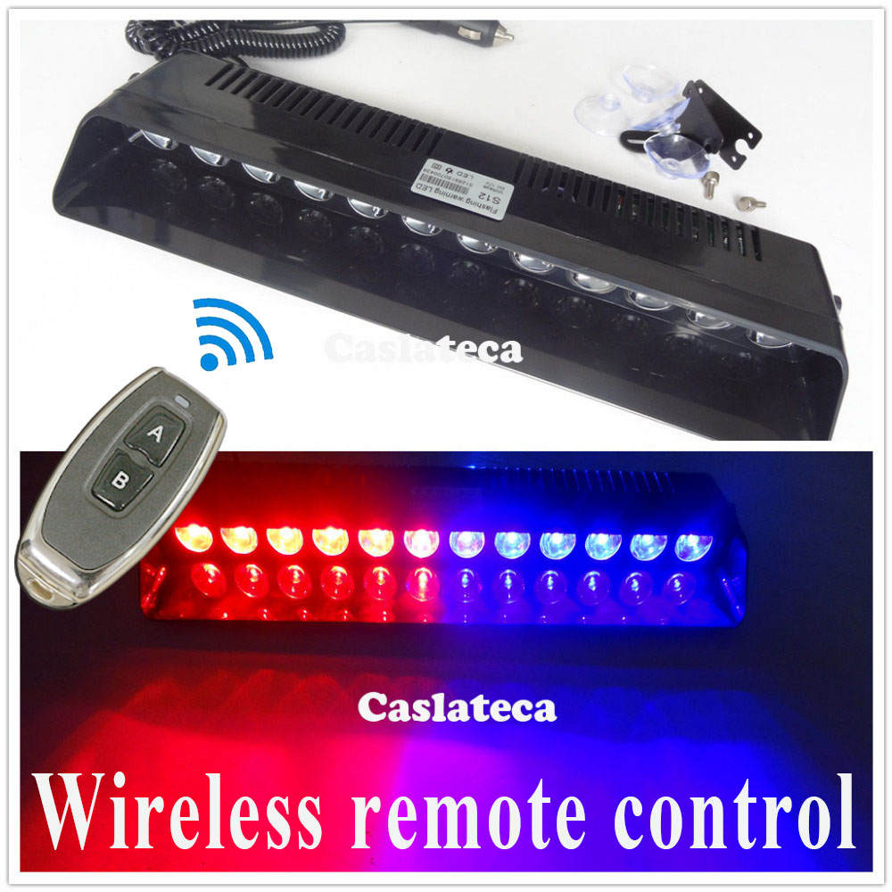 castaleca Wireless control 12 LED Windshield Warning Light Car Flashing Strobe Lightbar Police Lights Truck Beacons Signal lamp<br>