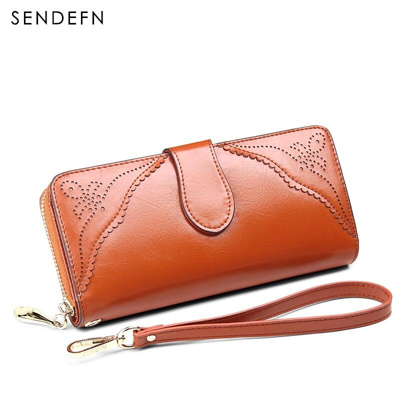 Sendefn fashion women wallets brand long split leather lady hasp zipper clutch purse<br>